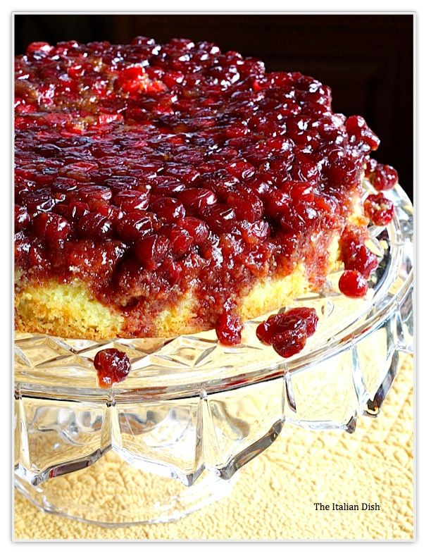 Cranberry Upside Down Cake.  This is how I make my pineapple upside down cake (rather than those yucky cherries, I use cranberries.  The best.