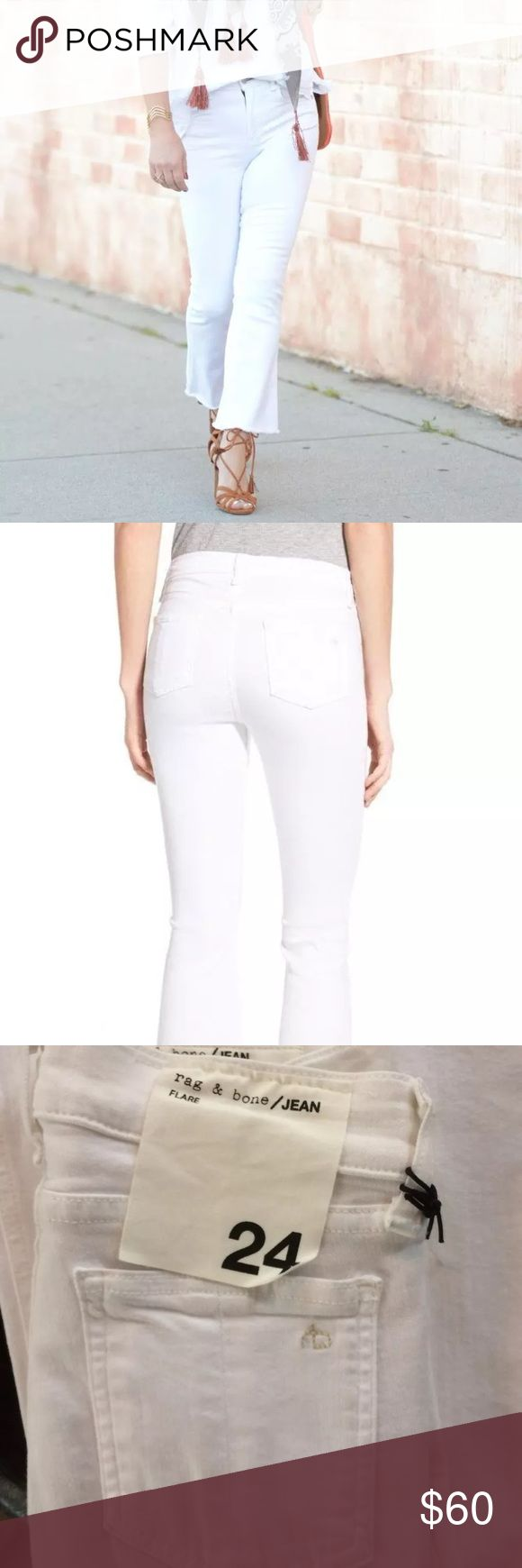 """NEW Rag & Bone Flare Raw Hem Jeans Bright White $185 NEW Rag & Bone Flare High Rise Raw Hem Jeans Bright White ~Size 24~  New with partial tags attached. Retails for $185 SOLD OUT!  White High rise Crop with raw hem Stretch 43% viscose, 33% cotton, 17% tencel, 2% poly, 2% elastane  Size 24  Measures approximately: waist across 12.5"""" rise 9.5"""" inseam 26.25""""  High end department store shelf pull- new without tags. May have had customer contact *Has a faint makeup spot on leg from being handled…"""