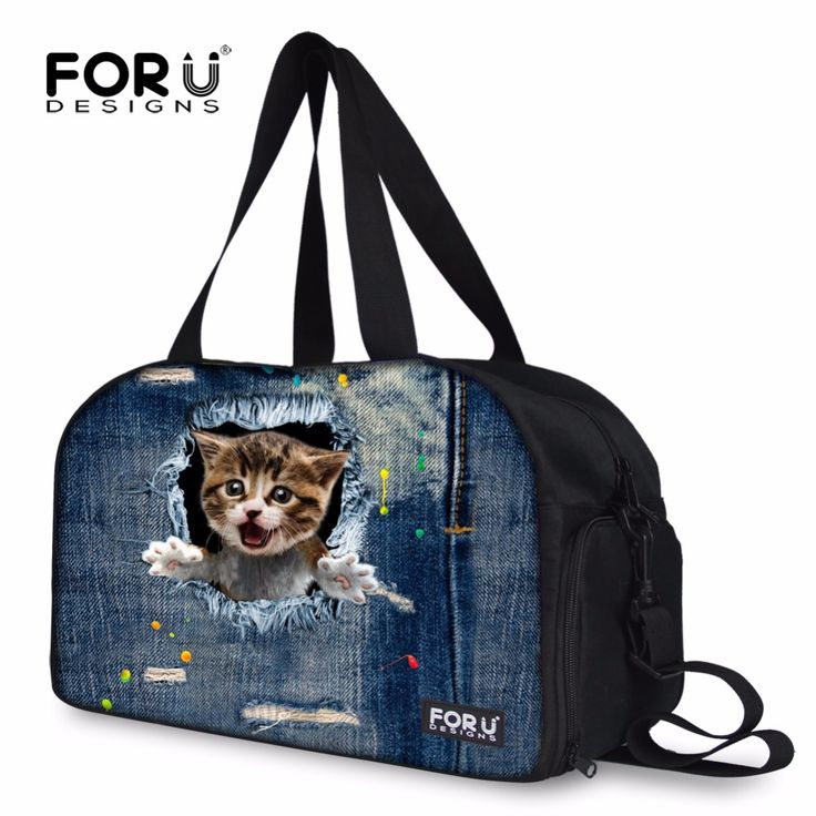 FORUDESIGNS 3D Cats Large Capacity Women Gym Bag Fitness Handbag Yoga Pack Collapsible Traveling Bag For Men Travel Tote Bags