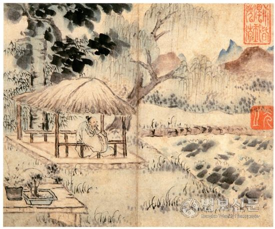 (Korea) 초당한거도 by Gang Se-hwang (1713- 1791). color on paper. ca 18th century CE.