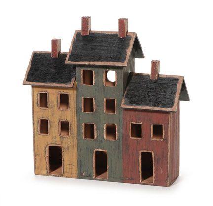 "Primitive Triple Old Wood House Home Decor 12"" x 4.5"" x 12.75"""