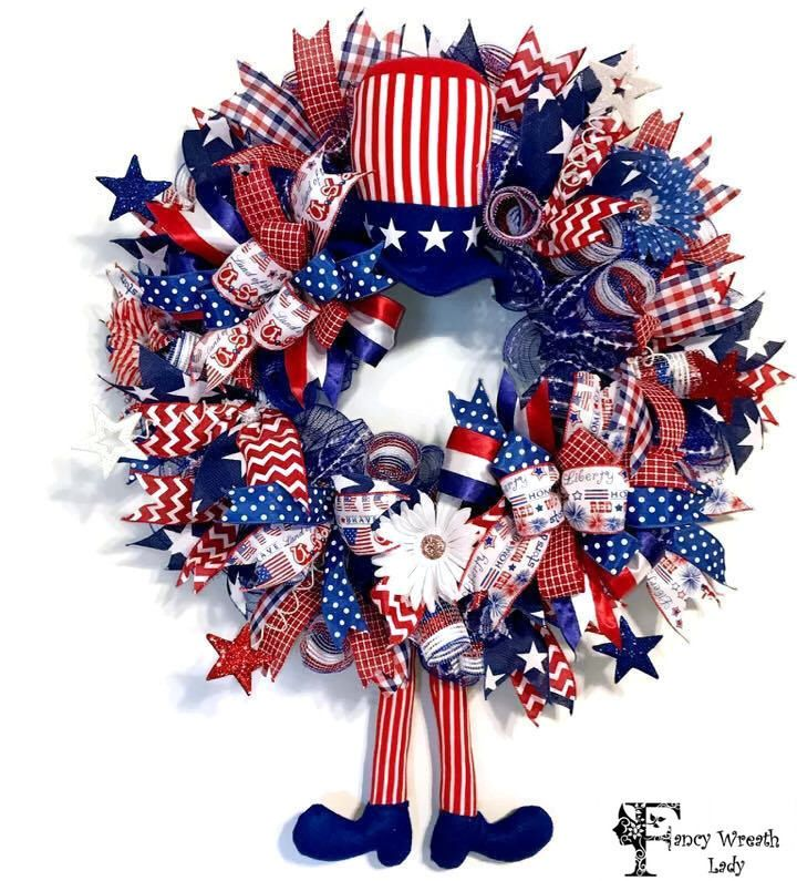 Uncle Sam Deco MESH WREATH,  4th of July Wreath, USA Front Door Wreath, America Wreath, Memorial Day Wreath, Character Wreath, Ready to Ship by FancyWreathLady on Etsy https://www.etsy.com/listing/529387367/uncle-sam-deco-mesh-wreath-4th-of-july