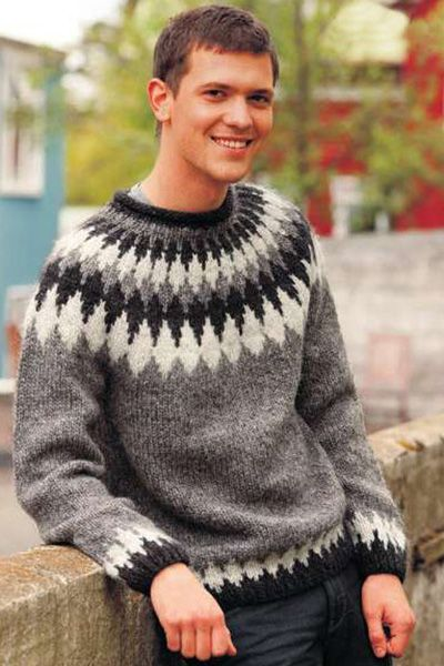 Icelandic Wool | Mens Sweater with Diamond Pattern.
