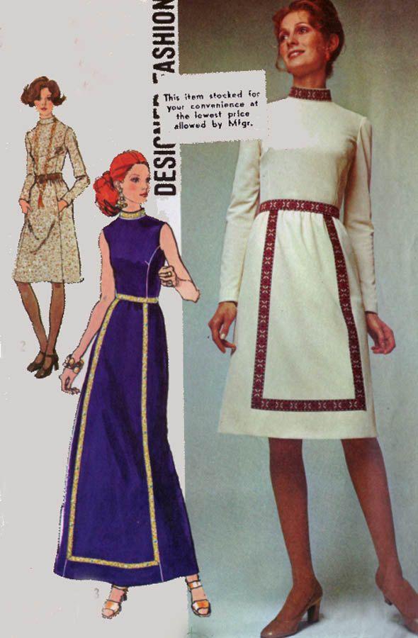 Vintage 70s Simplicity 9606 DESIGNER MAXI Dress Pattern Size 14 Bust 36 UNCUT by sandritocat on Etsy