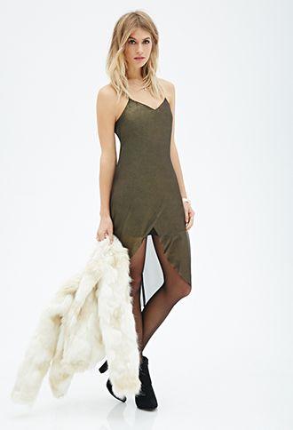 Bronze Green Metallic Cami Tulip Hi-Lo Dress | FOREVER21 - 2000080976 $30