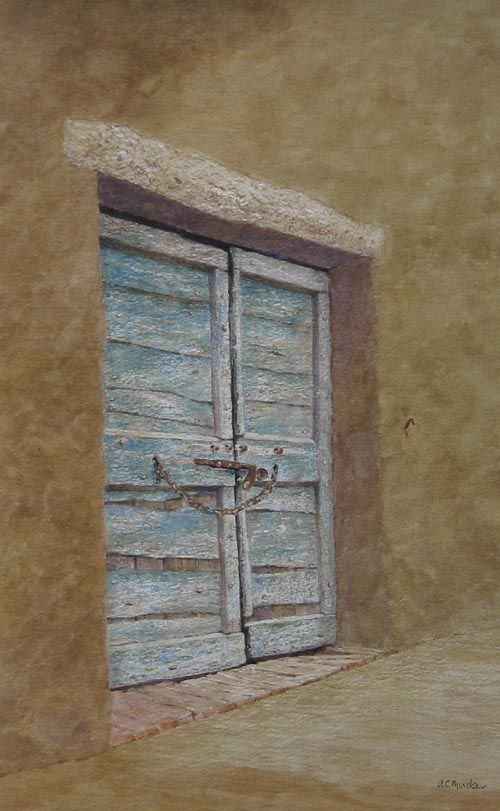The Locked Doorway, Orbetello, Italy  Watercolour : 50 X 31 cm Signed