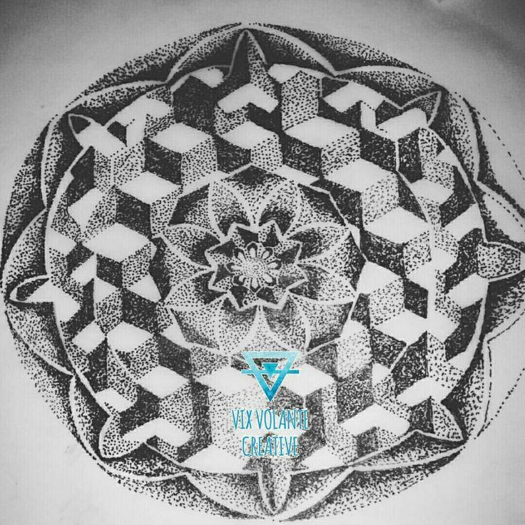 Sacred Geometry pointillism tattoo design. Pen.  .©vixvolantecreative 2015