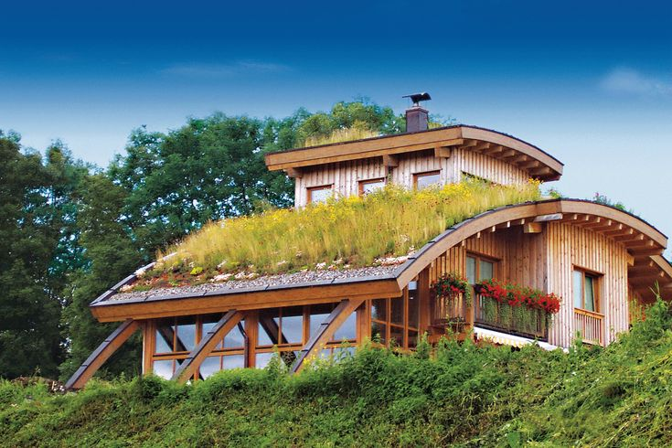 Wood And Glass Exterior With Green Roof Build Your Own