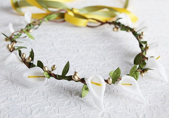 Girl Floral Crown Woodland Calla Lily Crown Bridal by HandyCraftTS, $28.00