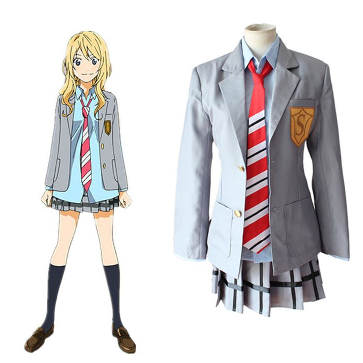 Find More Clothing Information about Miyazono Kaori cosplay costumes school uniform Japanese anime  Your Lie in April clothing(blazer+tie+shirt+skirt),High Quality uniform skirt,China uniform Suppliers, Cheap uniform military from anime costumes supermarket on Aliexpress.com