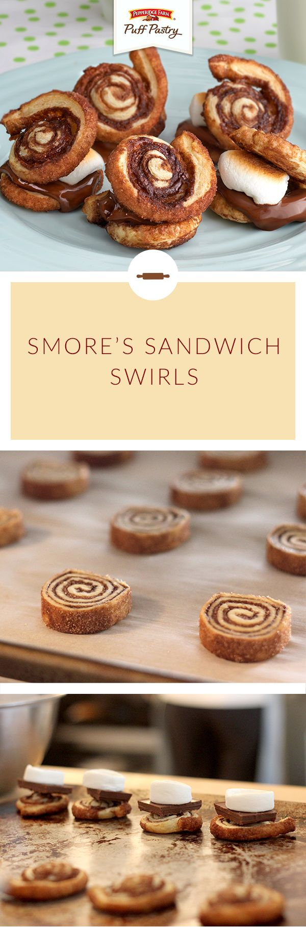 Celebrate National S'mores Day any day with S'more Sandwich Swirls! Melted chocolate and toasted marshmallow are sandwiched between two golden, flaky Puff Pastry and cocoa swirls for a perfect summertime treat.
