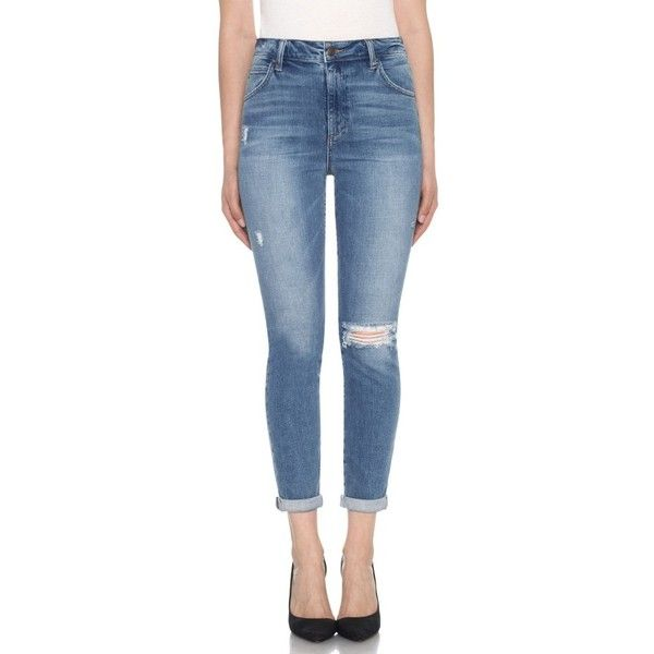 Women's Joe's Bella High Waist Crop Skinny Jeans (€160) ❤ liked on Polyvore featuring jeans, mailou, high rise jeans, high-waisted skinny jeans, cuffed skinny jeans, high waisted jeans and cuffed jeans