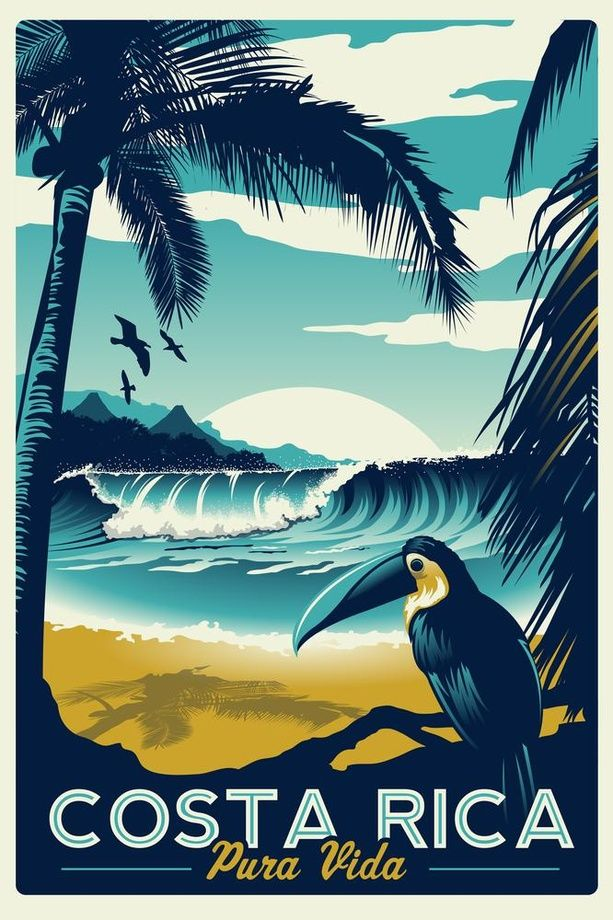 Costa Rica Retro Vintage Travel Poster Toucan Wave Surf Palm Trees by matt schnepf
