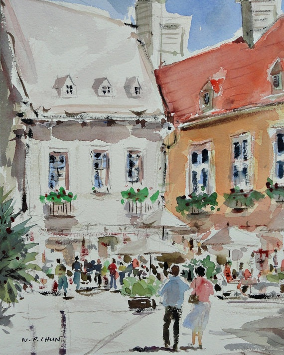 Quebec Old Town on a Sunday Morning,This artwork reminds me of my on location drawing at Epcot, Disney. Beautiful.