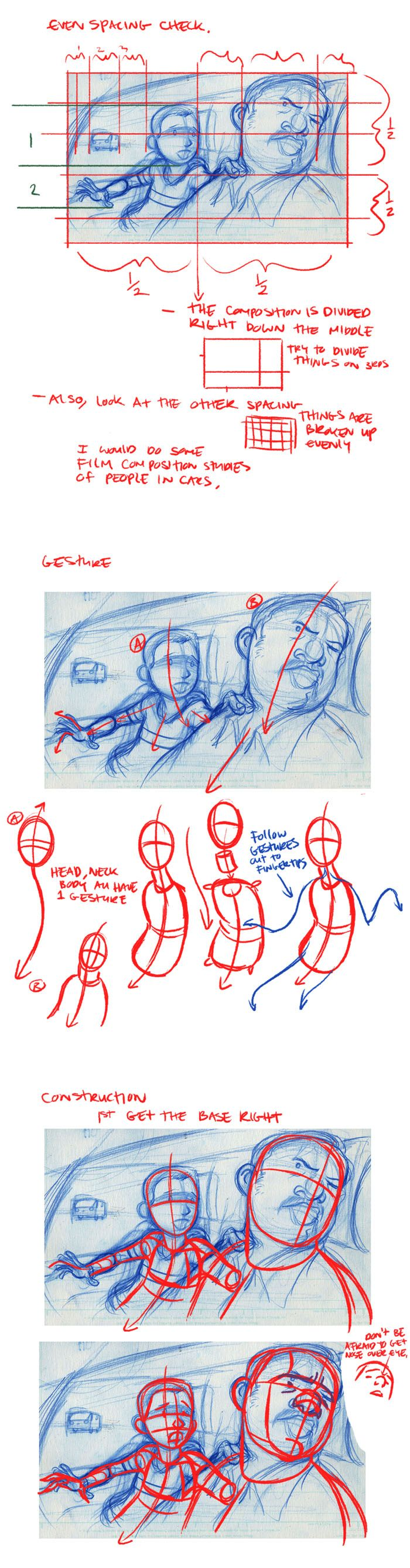 Spacing -> Gesture -> Construction - good illustration always has thought behind it.  This links to a great site about storyboards.
