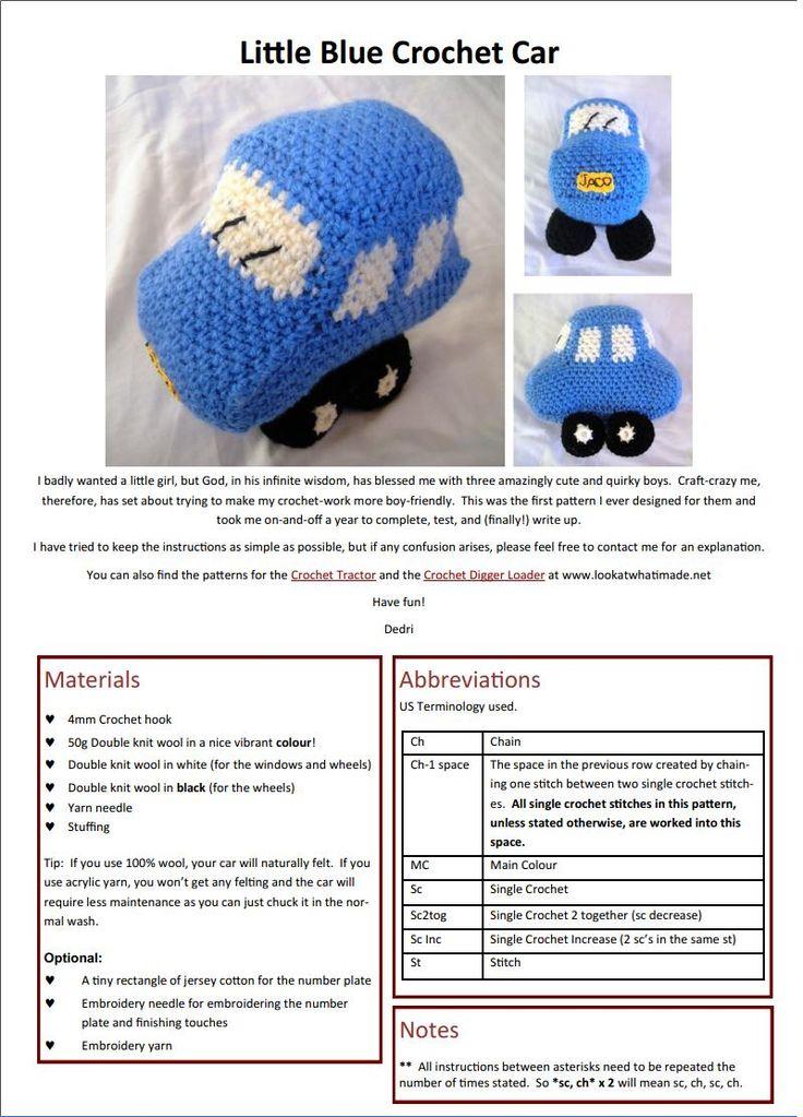 Free Little Blue Car Crochet Pattern Free Crochet Patterns Photo