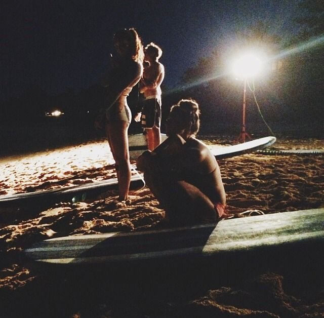 Night surfing, even tho i would never go in the water at night time. It seems pretty awesome