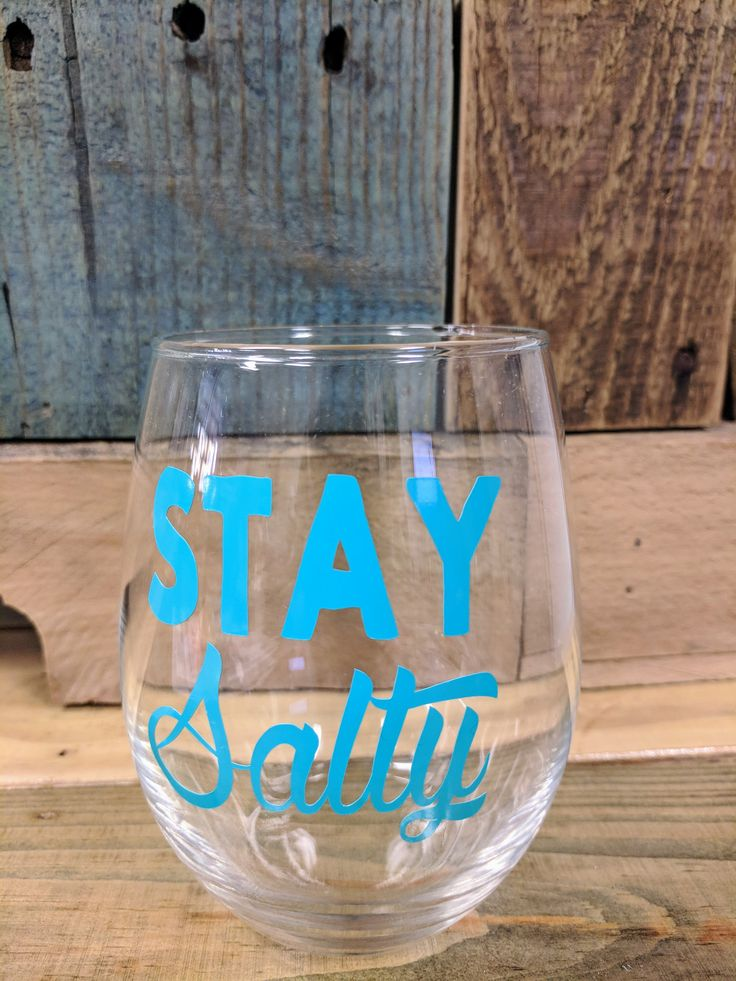Stay Salty Stemless Wine Glass. Gift. Beach. Humor.  Nautical. For her.  Wine. Drinks.  Birthday. by SEPBoutique on Etsy