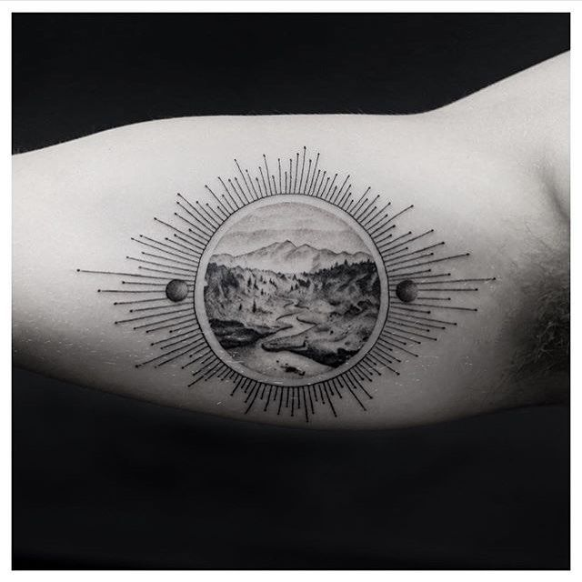 #Tattoo by @balazsbercsenyi #⃣#Equilattera #tattoos #tat #tatuaje #tattooed #tattooartist #tattooart #tattoolife #tattooflash #tattoodesign #tattooist #bestoftheday #original #miami #mia #creative #florida #awesome #love #ink #art #design #sun #illustration #dotwork #blackandwhite #landscape #linework