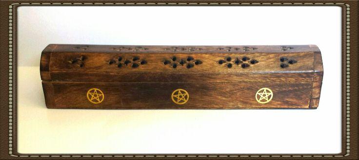 Brass pentacle embedded wooden incense holder- $10.00 https://www.ancientvisions.com.au