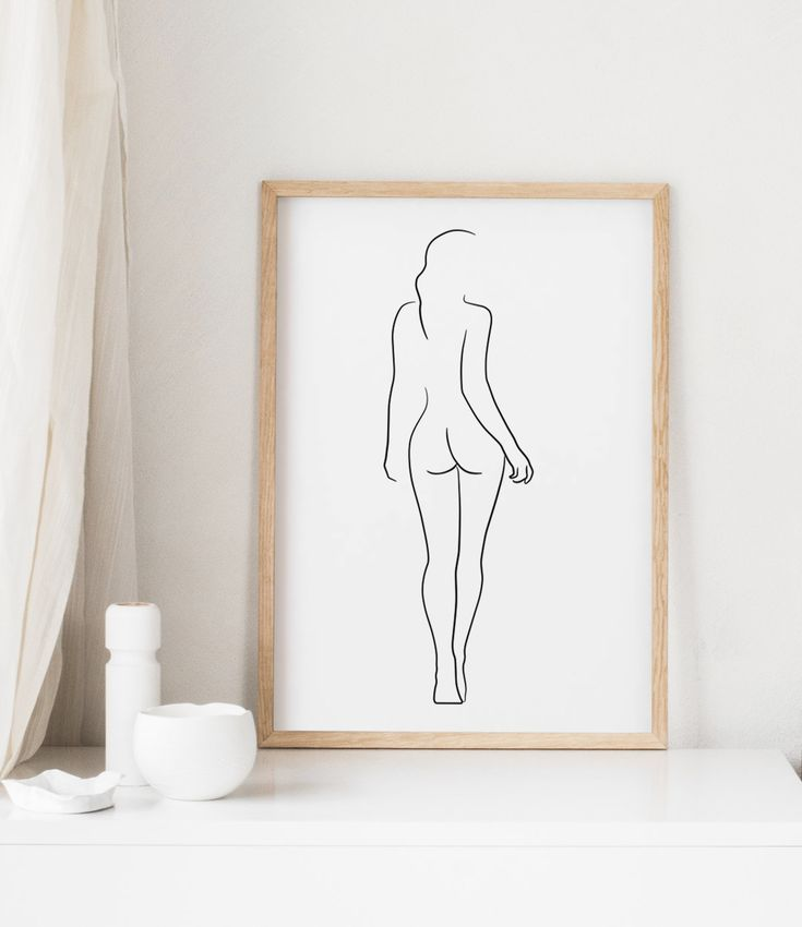 Female Figure Drawing PRINTABLE, Line art, Female body, Woman body outline, Woman from behind, Sketch wall art, Female nudity poster – BLEK PRINTS