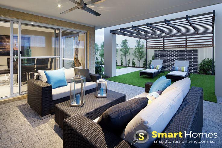 modern patio alfresco design  with sunbaking seating area under pergola #patio #alfresco #smarthomesforliving