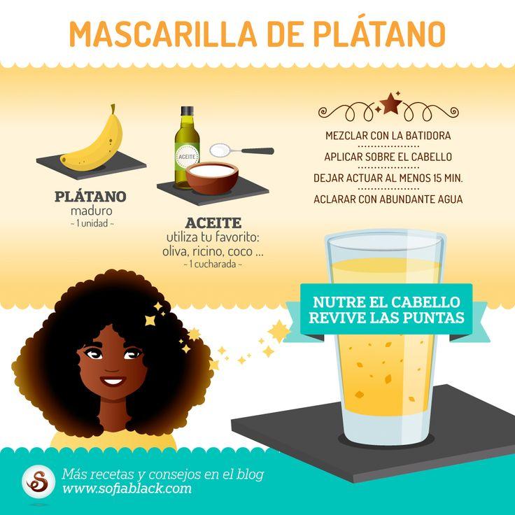 Nutre el cabello y revive las puntas con esta mascarilla de plátano. ~ Receta para un cabello natural saludable #DIY