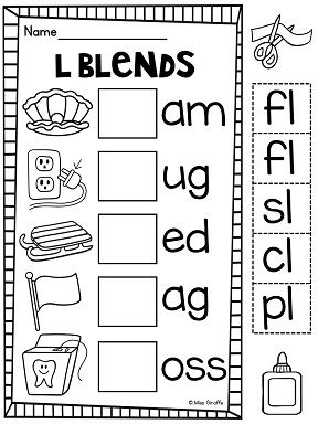 L blends activities worksheets and centers NO PREP