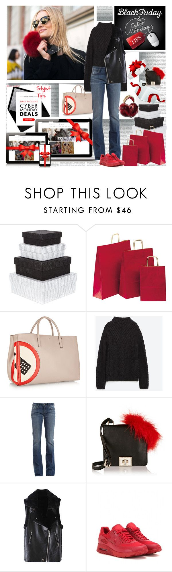 """Cyber Monday Stylist Tip's 1. Shop Early 2.Stick to the List"" by stylepersonal ❤ liked on Polyvore featuring Anya Hindmarch, Zara, 7 For All Mankind, Valentino, NIKE, blackfriday and cybermonday"