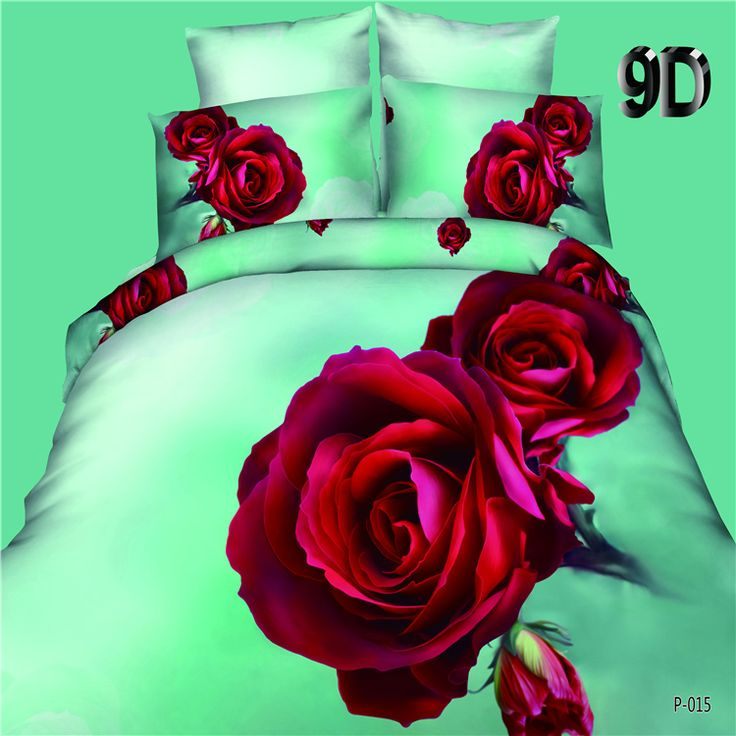 Hot 3D Printed Bedding Set Bedclothes Red Rose in Full Bloom Queen Size Duvet Cover+Bed Sheet+2 Pillowcases