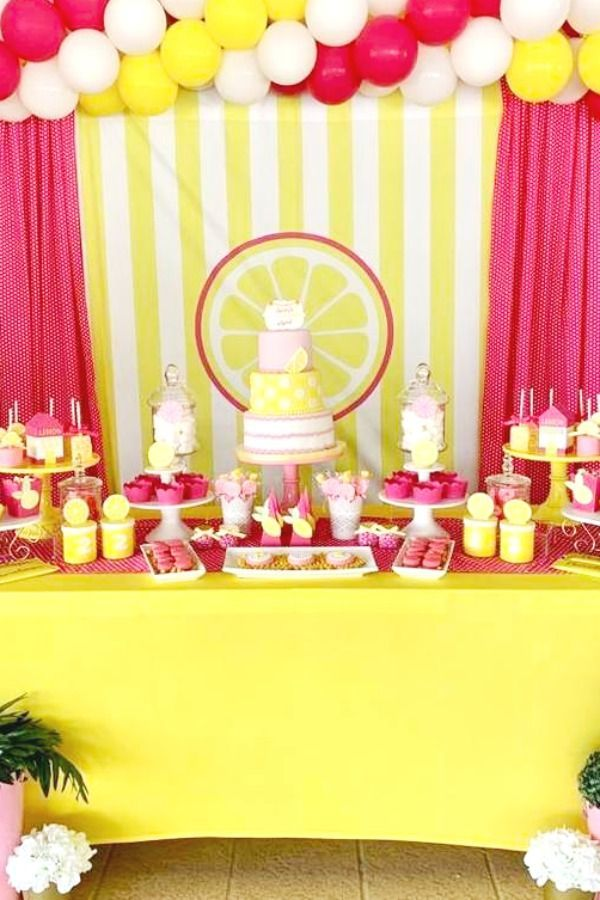 Check out this sweet pink lemonade birthday party! The dessert table is so sweet…