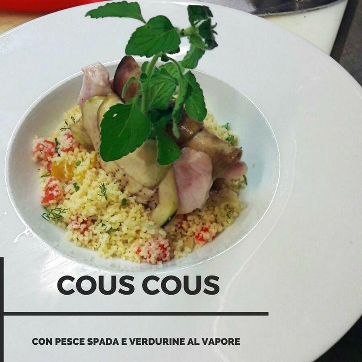 Cous cous con pesce spada e verdurine al vapore. Cous cous with swordfish, and steamed vegetables. #food Ristorante Arlù, Borgo Pio 135 (zona San Pietro) - Roma