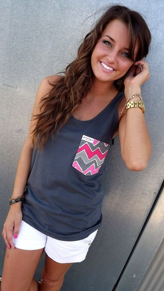 Gray Tank w/ Wavy Pocket