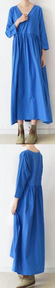 2017 BLUE V NECK LINEN DRESSES PLUS SIZE CASUAL SUNDRESS