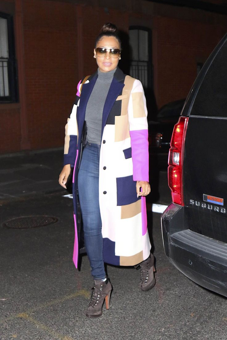 Lala Anthony's New York City MSGM Pink, Tan, Black, and Gray Fall 2015 Patch Coat