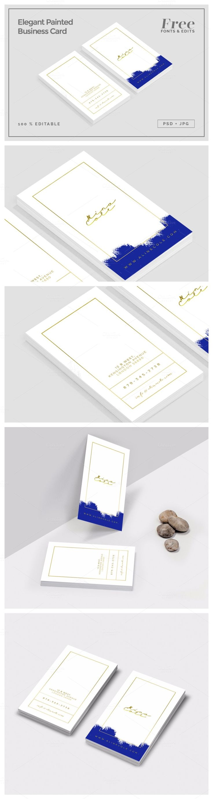 Elegant Painted Business Card https://creativemarket.com/MeeraG/127420-Elegant-Painted-Business-Card?u=MeeraG | #business #card #elegant #painted #businesscard #personalcard #branding #stationary