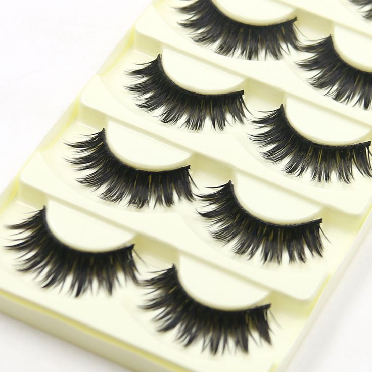 5Pairs Cotton Stalk Artificial Eyelashes False Eyelashes Natural Long Black Fake Eyelashes Makeup Lashes Extension Makeup Tool 0
