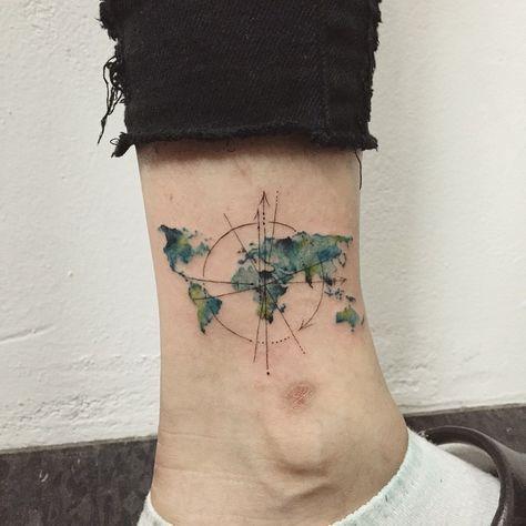 world map + compass #tattoo #tattoos #ink #worldmaptattoo #compasstattoo #watercolortattoo #hongdam