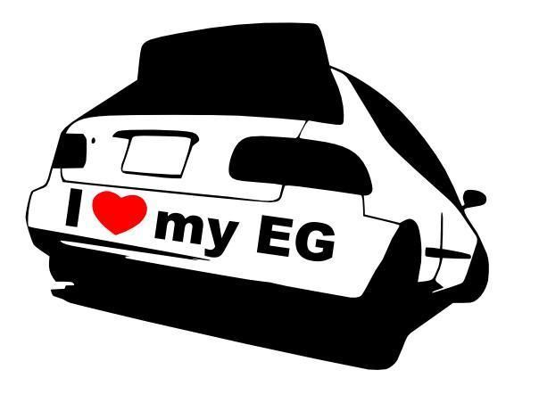 I Love My Honda Civic Eg (Hatchback) Vinyl Decal Sticker