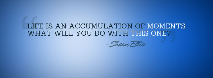 """""""Life is an accumulation of moments. What will you do with this one?"""" - Shawn Ellis"""