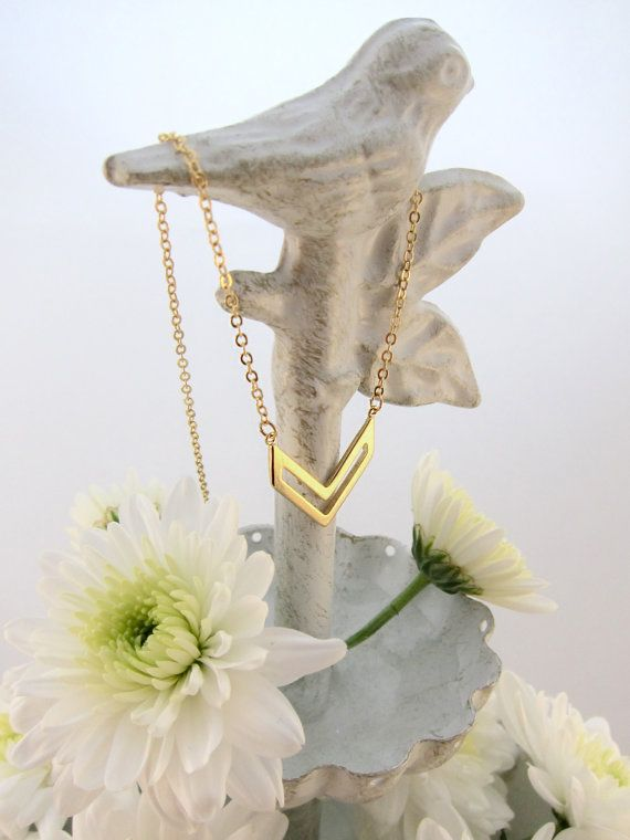 Chevron Arrow Pendant Gold Chain Layering Necklace - Trendy and Modern!