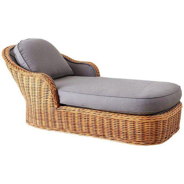 Michael Taylor Style Wicker Chaise Lounge In 2020 Wicker Lounge