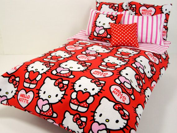 Hello Kitty Bed Set for 1:6 Scale Dolls  Pink & Red  Barbie