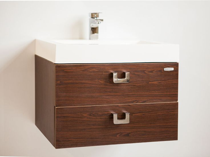 BORDEAUX MATT BROWN WOOD GRAIN BATHROOM VANITY UNIT WITH RESIN SINK  600mmx440mm In Home, Furniture