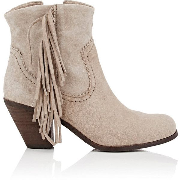 Sam Edelman Women's Louie Fringed Suede Ankle Boots ($79) ❤ liked on Polyvore featuring shoes, boots, ankle booties, ankle boots, nude, fringe booties, nude ankle boots, short fringe boots, sam edelman bootie and suede fringe boots
