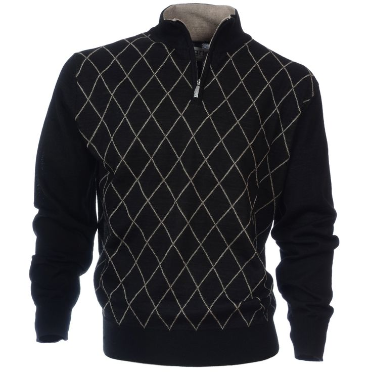 Stylish #golf sweater with small diamond pattern design and accent colour on the inside collar