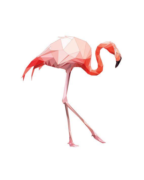 Flamingo Print Flamingo Wall Art Geometric by SunberryGraphics