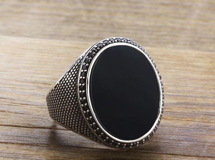 925 K Sterling Silver Man Ring Black Onyx Gemstone 11,75 US Size B15-63707 in Jewelry & Watches, Men's Jewelry, Rings | eBay
