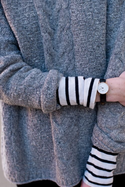 stripes + loose wool cables in gray
