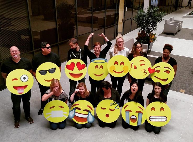 """Our group costumes at work today! #Halloween #groupcostumes #Houston #emoji #emojicostumes"""